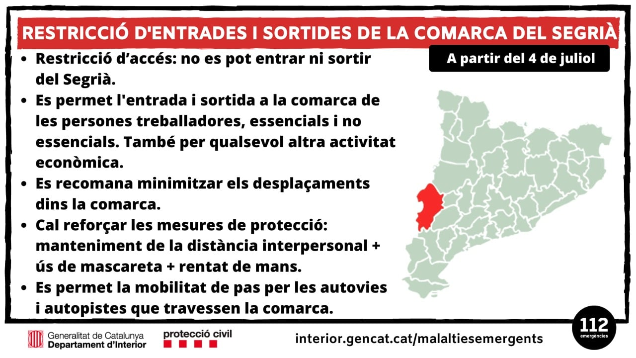 Regional Lockdown Re-Introduced In Segrià (Lleida), Catalonia